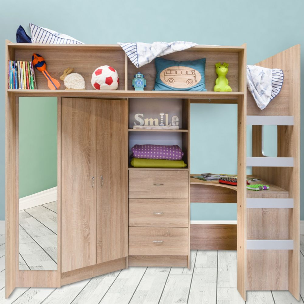 Stamford High Sleeper Bed  Oak